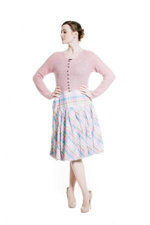 Ballonrock türkis rosa Karo mit rosa Dirndlstrickjacke aus Mohair