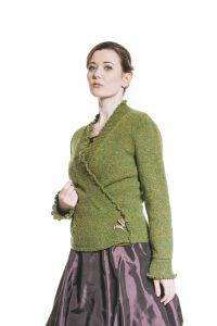 violetter Ballonrock und grüne Tweedjacke Ansicht 3