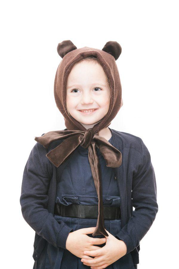 Bärenhaube aus dunkelbraunem Teddyplüsch mit Samtmasche für 1-6 Jahre Ansicht 1