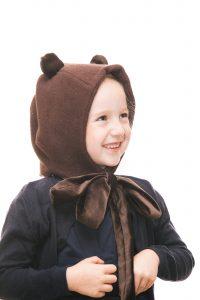 Bärenhaube aus dunkelbraunem Teddyplüsch mit Samtmasche für 1-6 Jahre Ansicht 2