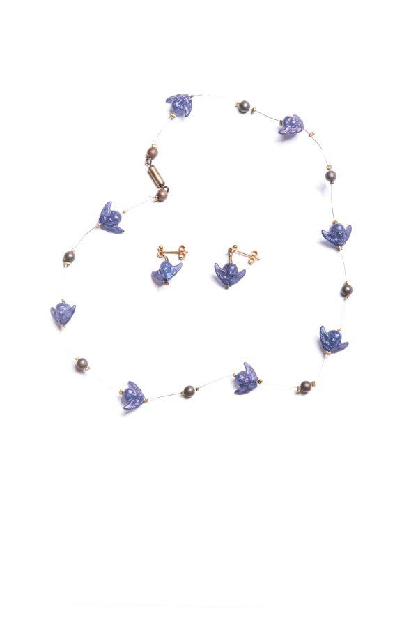 Halskette & Ohrringe dunkelblaue Engel Ansicht 1