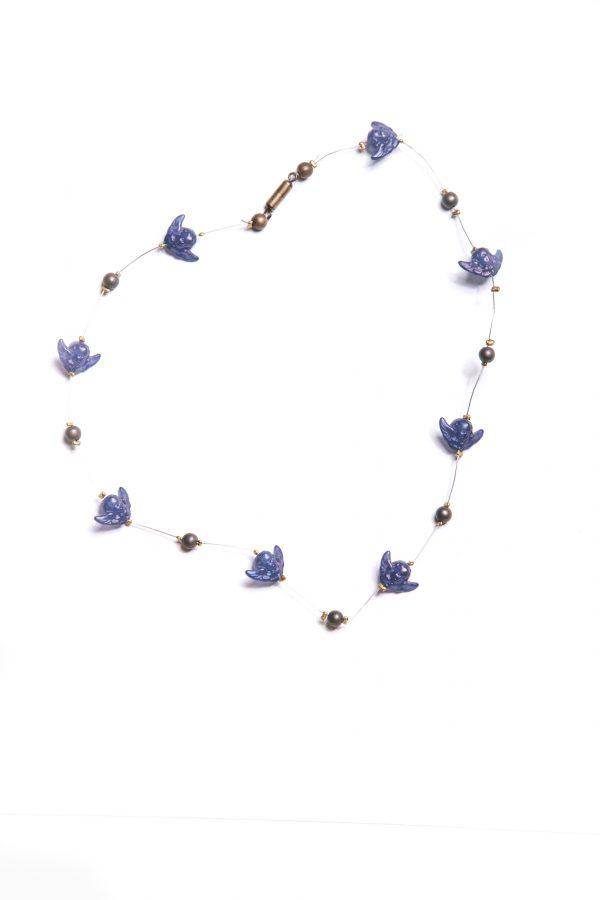 Halskette & Ohrringe dunkelblaue Engel Ansicht 2