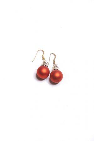 Ohrringe Weihnachtskugeln rot matt
