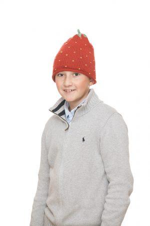 handgestrickte Erdbeerhaube aus roter Merinowolle für 6-12 Jahre