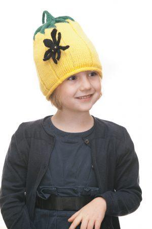 handgestrickte Kürbishaube mit Spinne aus gelber Wolle für 2-6 Jahre Ansicht 1